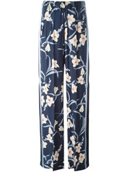 Twin Set Floral Print Trousers Blue
