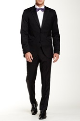 Tiger Of Sweden Black Solid Two Button Peak Lapel Wool Suit