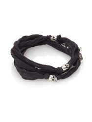 King Baby Studio Sterling Silver And Silk Skull Wrap Bracelet Charcoal