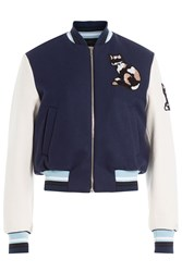 Msgm Wool Bomber Jacket With Sequin Motif Blue