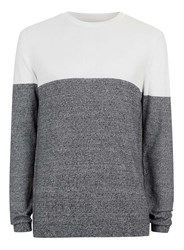 Topman White And Black Twist Colour Block Jumper Mid Grey