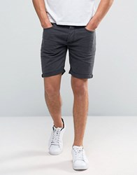 Selected Washed Black Denim Shorts Grey
