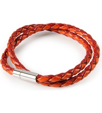 Tateossian Silver Pop Scoubidou Leather Bracelet Red Orange