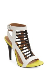Women's Calvin Klein 'Nalo' Caged Sandal Black White Lemon