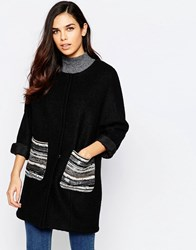 Jovonna Assis Coat With Metallic Pockets Black