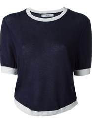 Julien David Crew Neck Knit Top Blue