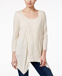Styleandco. Style Co. Lace Inset Handkerchief Hem Top Only At Macy's Warm Vanilla Heather