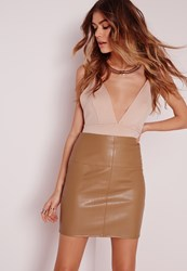 Missguided Faux Leather Mini Skirt In Camel Brown