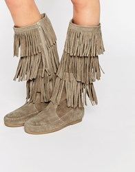 Asos Catch Up Leather Fringe Knee High Boots Sand Beige