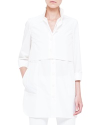 Akris Two In One Layered Boyfriend Crop Top And Tunic Calcite