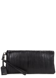 Dkny Black Pleated Leather Clutch