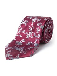 Paul Costelloe Oval Ombre Floral Silk Tie Wine