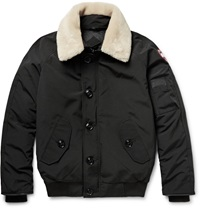 Canada Goose Foxe Shearling And Leather Trimmed Shell Down Bomber Jacket Black