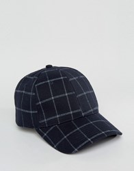 Asos Baseball Cap In Navy Check Navy