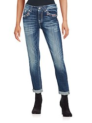 Miss Me Distressed Roll Up Jeans Dark Blue