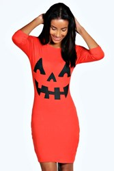 Boohoo Pumpkin Print Halloween Bodycon Dress Orange