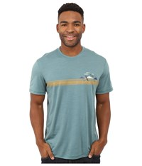 Smartwool Nts Micro 150 Tee Charley Harper National Park Poster Bird On A Mountain Sea Pine Men's Short Sleeve Pullover Blue