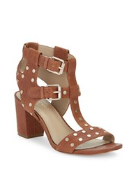 424 Fifth Letha Leather Studded Sandals Cognac
