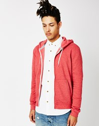 The Idle Man Zip Through Hoodie Red
