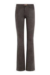 True Religion Suede Bootcut Flared Pants Grey