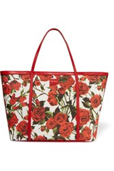Dolce And Gabbana Printed Leather Trimmed Woven Tote Red