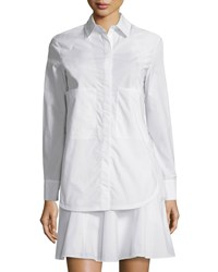 Derek Lam 10 Crosby Long Sleeve Layered Cotton Shirtdress Soft White