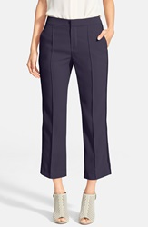 See By Chloe Braided Trim Pintuck Crop Trousers Dark Navy