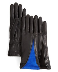 Agnelle Zipper Leather Gloves With Suede Insert Black Black