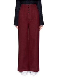 Helen Lee High Waist Wool Blend Flare Pants Red