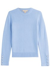 Michael Kors Collection Cashmere Pullover With Buttoned Cuffs Blue
