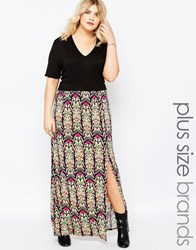 Club L Plus Maxi Dress With V Neck And Geo Printed Skirt Geo Print