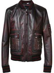 Philipp Plein Studded Bomber Jacket Red