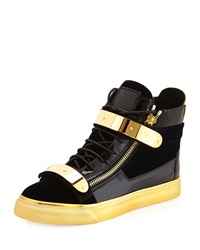 Men's Velvet High Top Sneaker Navy Gold Giuseppe Zanotti