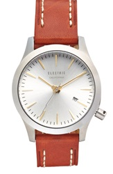 Electric Eyewear Round Leather Strap Watch 40Mm