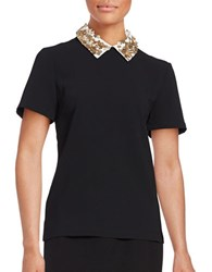 Trina Turk Sequin Accented Collar Short Sleeved Top Black