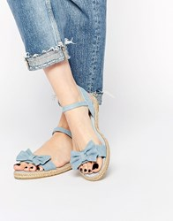 Asos Juno Espadrille Bow Sandals Chambray Blue