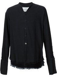 Greg Lauren 'Patchwork' Frayed Hem Flannel Studio Button Down Shirt Black