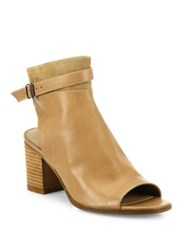 Vince Jane Leather Peep Toe Block Heel Booties Sand Black
