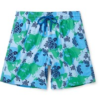 Vilebrequin Moorea Mid Length Printed Swim Shorts Blue