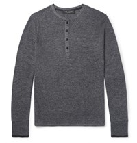 Rag And Bone Giles Contrast Tipped Merino Wool Blend Henley Sweater Charcoal
