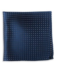The Tie Bar Silk Dotted Pocket Square Navy