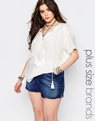 Alice And You Short Sleeved Embroidered Peasant Blouse Cream
