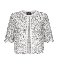St. John Plume Cropped Lace Cardigan Female Ivory