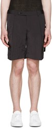 Wooyoungmi Black Crinkled Tape Shorts