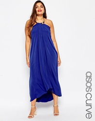 Asos Curve Halter Swing Maxi Dress With Gold Necklace Cobalt