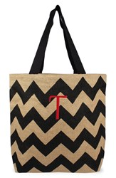 Cathy's Concepts Personalized Chevron Print Jute Tote Grey Black Natural T