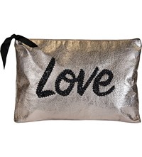 Lisa Bea Embellished Large Leather Pouch Rose Gold