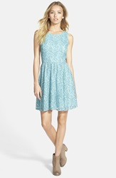 Frenchi V Back Lace Skater Dress Blue Merchant Kylie Lace