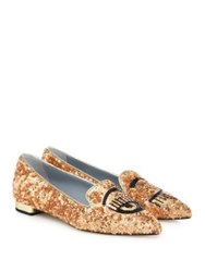 Chiara Ferragni Flirting Metallic Sequin Point Toe Flats Gold