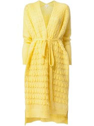 Delpozo Long Belted Cardigan Yellow And Orange